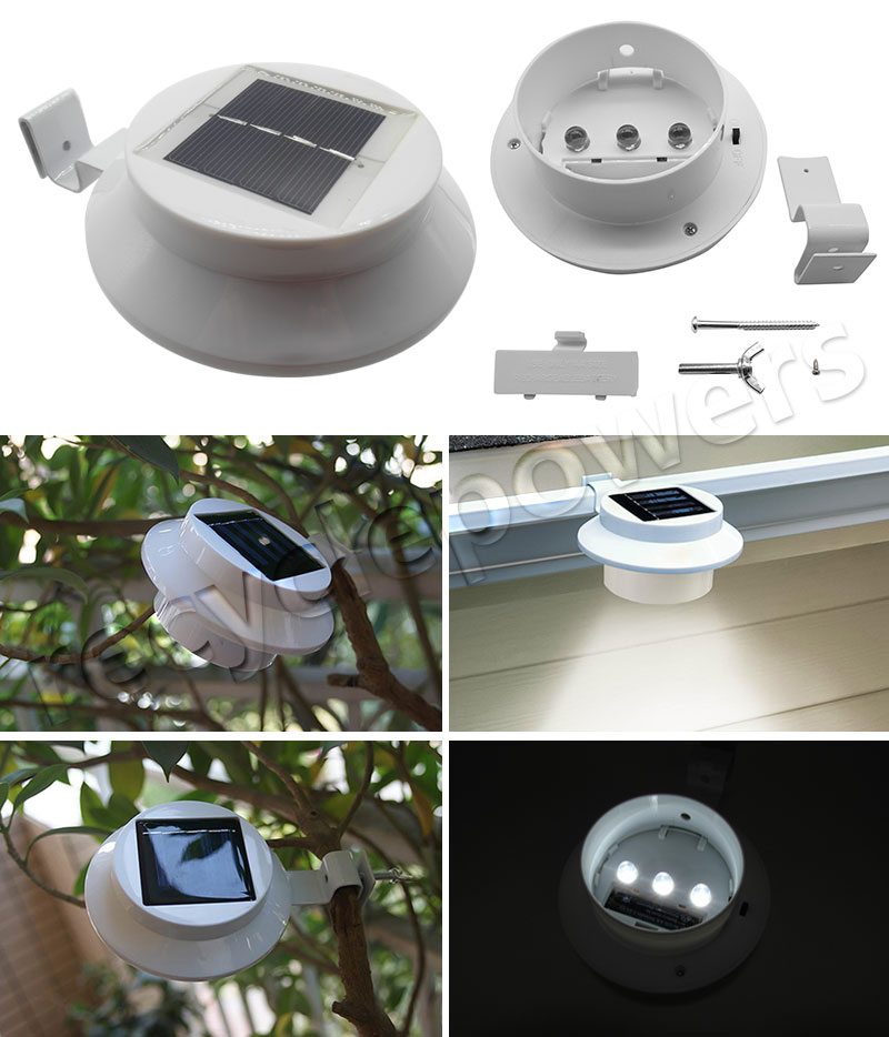 Solar Lights Roof: 3 LED White Guardrail Gutter 4 LED Touch Path Solar