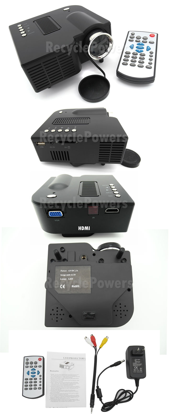 Mini micro hdmi av sd led digital video game projector for Micro hdmi projector